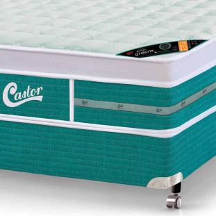 Cama box + Colchão Castor Queen vegano Gold Star Green 158 x 198 x 72