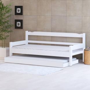 Sofá Cama Solteiro De Madeira Maciça Com Cama Auxiliar Nemargi Branco
