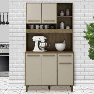 Armário De Cozinha Pequeno Versátil Ipê Off White Ametista Valdemóveis
