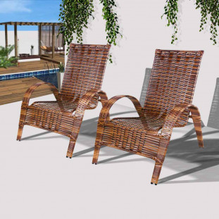 Conjunto 2 Cadeiras de Área Externa Varanda e Jardim em Junco