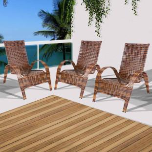 Conjunto 3 Cadeiras de Área Externa Varanda e Jardim em Junco