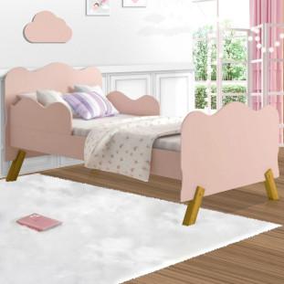 Cama Infantil Com Proteção Lateral Nuvem Rose Angel Cambel