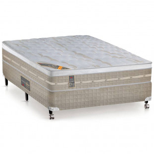 Cama Box + Colchão Casal Castor Premium Amazon One Face Bege 138 X 188 X 72