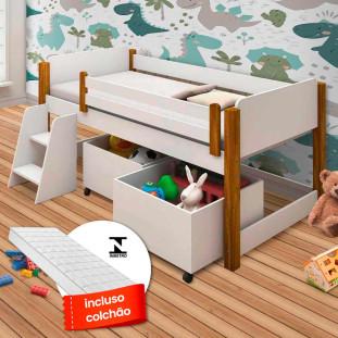 Cama Solteiro Infantil Com Colchão e 2 Baús + Escada Branco/Amendoa Naty Divaloto