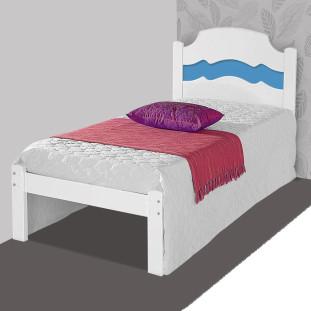 Cama De Solteiro 100% Mdf Iris Vj Móveis Branco E Azul