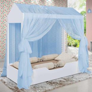 Cama Infantil Casa Com Voal Duda Divaloto Branco/Azul