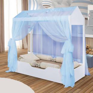 Cama Montessoriana Cabana Com Voal Azul Duda Divaloto