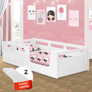 Cama Infantil Montessoriana Com Colchão Planet Baby Montessori Branca