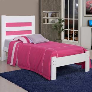 Cama solteiro de madeira maciça Lara Atraente Branca com rosa