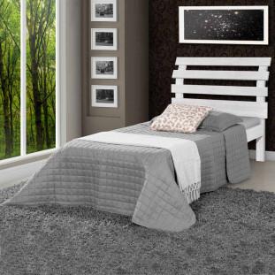 Cama solteiro de madeira maciça Rebeca Atraente Branca