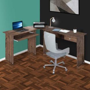 Mesa Para Computador Escrivaninha Completa Master Zanzini Tabaco