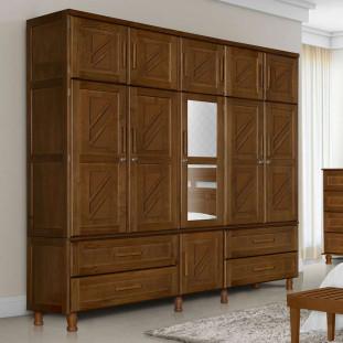 Guarda roupa de casal madeira maciça duplex com espelho Chicago Atraente imbuia