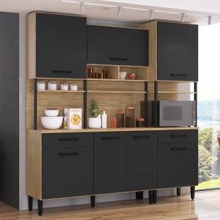 Armário de cozinha compacta Maori 7 portas 2 gaveta Casamia Mel e Grafite