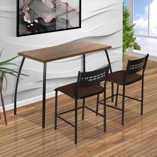 Mesa Pequena Com 2 Cadeiras De Aço Preto Com Assento Marrom Fit Flora