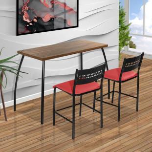 Mesa Pequena Com 2 Cadeiras De Aço Preto Com Assento Vermelho Fit Flora