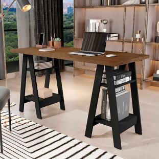 Mesa Escrivaninha Cavalete Para Home Office Basoto Caleb Preto Castanho