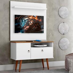 Rack Com Painel Para Tv 32 Polegadas Branco Acetinado Cumaru