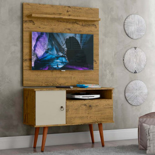 Rack Com Painel Para Tv 32 Polegadas Nature Off White