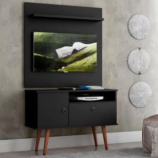 Rack Com Painel Para Tv 32 Polegadas Preto Acetinado