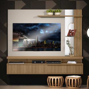 Painel Home Para Tv 60 Polegadas Carvalho Off White Maragogi Linea Brasil