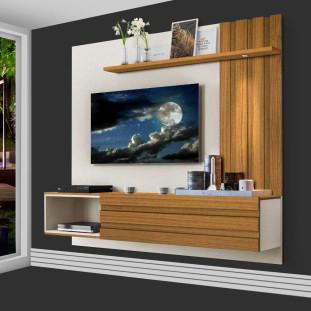 Painel Home Para Tv Com Led E Porta Basculante 100% São Paulo Luapa Off White Carvalho