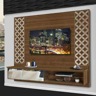 Painel Home Para Tv De 55 Polegadas 100% Mdf Com Espelho Roma Luapa Amendoa Off White