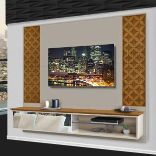 Painel Home Para Tv 55 Polegadas Com Espelho 100% Mdf Roma Luapa Carvalho Off White
