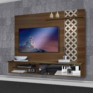 Painel Home Para Tv Com Led 100% Mdf Versalio Luapa Amendoa Off White