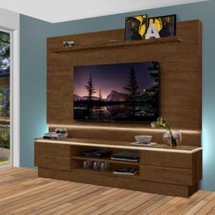 Rack Com Painel Com Led  Para Tv Até 75 Polegadas 100% Mdf London Luapa Malbec
