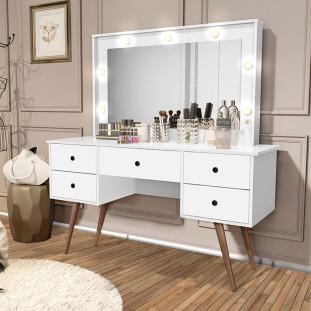 Penteadeira Camarim com Led e Espelho Basoto Anaisa Branco