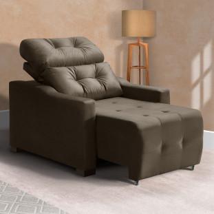 Poltrona Do Papai Chaise Confortável Reclinável Marrom Caroline