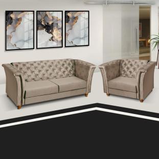 Sofá + Poltrona Decorativa Chesterfield Capitone Art Estofados Portinari Sued Bege