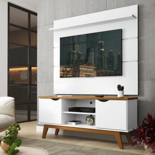 Rack Com Painel Para TV 46 Polegadas Branco Acetinado Cumaru Prism