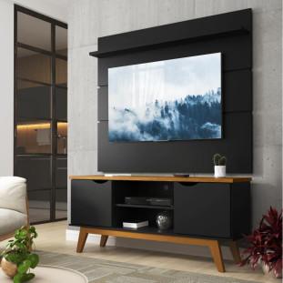 Rack Com Painel Para TV 46 Polegadas Preto Acetinado Cumaru Prism Patrimar