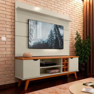 Rack Com Painel Para TV 60 Polegadas Off White Cumaru Prism Patrimar
