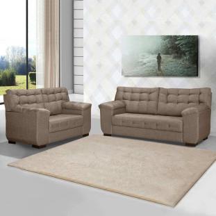 Sofa 2 E 3 Lugares Linho Bege Nassau Leppos