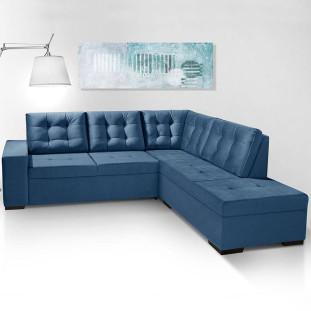 Sofá de Canto com Chaise Roma Luapa Azul A92