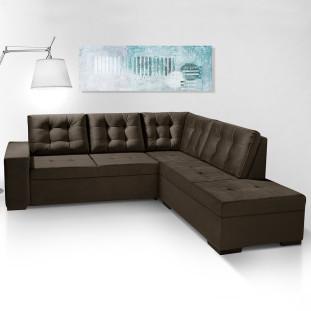 Sofa de canto com chaise Roma Luapa Cafe A91