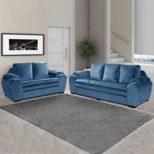 Sofa 2 e 3 lugares Almofadado Italia Luapa Azul A92