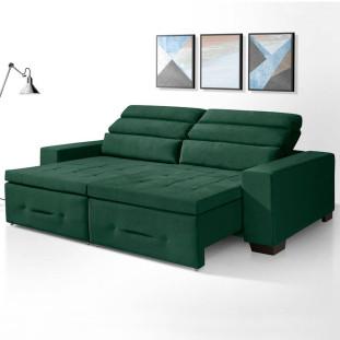 Sofa Retratil e Reclinavel 3 lugares Barcelona Luapa Verde A90