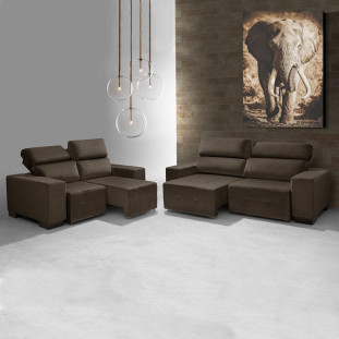 Sofa Retratil E Reclinavel 2 E 3 Lugares Viena Luapa Café A91