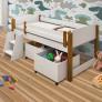 cama infantil com dois baús para guardar brinquedo e escadinha para ajudar a criança a subir na cama, acompanha grade de proteção nas laterais