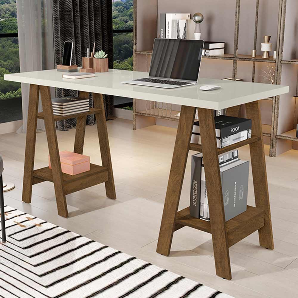 Mesa Escrivaninha Cavalete Para Home Office Basoto Caleb Off White Castanho