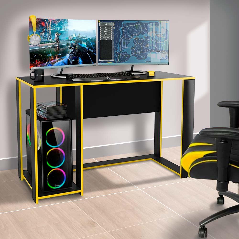 Escrivaninha Gamer Preta Amarela Singapura Politorno